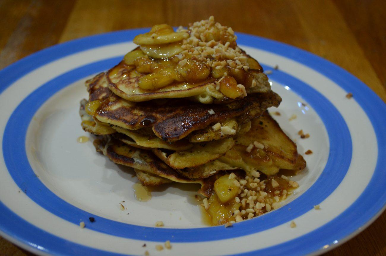 Chocolate hazelnut stuffed pancakes